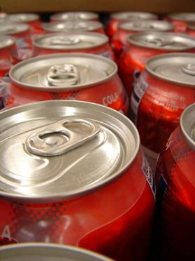 Cola Soda Pop Cans Packed Tight